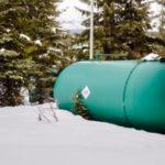 Propane tank in the snow