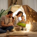 Happy family tent night